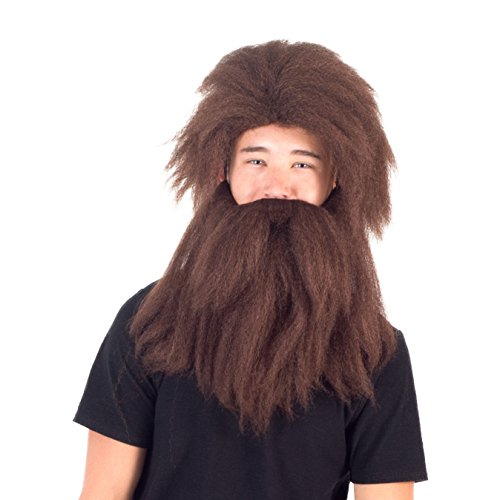 Adult Deluxe Prehistoric Cave Man Brown Long Hair Wig and Beard Costume Accessory