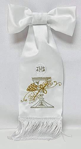 First Communion Boys White Satin Armband Chalice Fringe Design
