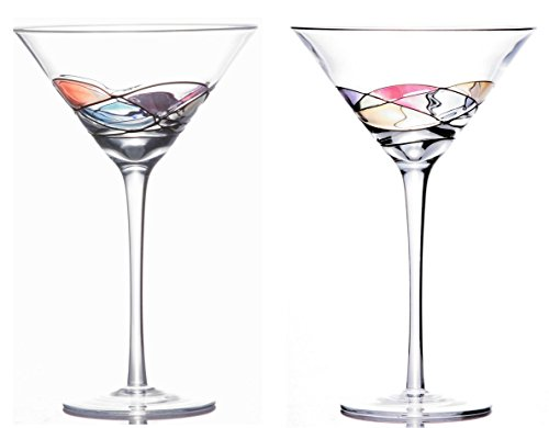 [Sonoma Artisan Stemware, Handcrafted and Painted Martini Glasses, Set of 2, Unique and Special Gift] (60s Dress Up Ideas)