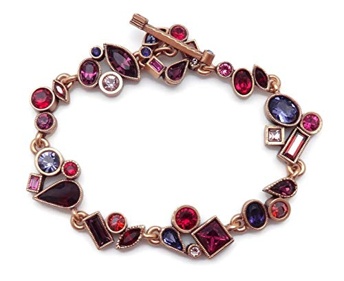 Patricia Locke Tipsy Wedding March Red & Purple Mix Swarovski Crystal Goldtone Bracelet
