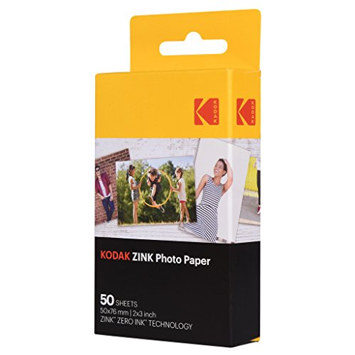 Kodak 2ʺx3ʺ Premium Zink Photo Paper (50 Sheets) Compatible with KODAK Smile and PRINTOMATIC (NOT with Kodak Mini Shot, Mini2)