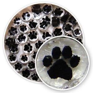 Black Paw Print Millefiori - 96 Coe (Millefiori Mosaic Art Glass)