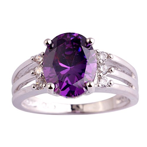 Psiroy 925 Sterling Silver Oval Shaped Created Amethyst Filled Anniversary Ring Size 8
