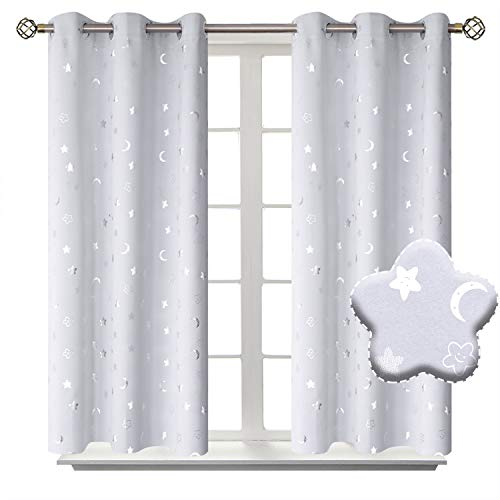 BGment Moon and Stars Blackout Curtains for Kids Bedroom, Grommet Thermal Insulated Room Darkening Printed Nursery Curtains, 2 Panels of 42 x 45 Inch, Greyish White from BGment