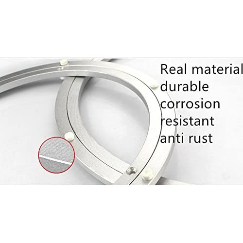 ASIBT 12 Inch Diameter Aluminum Metal Lazy Susan Hardware Rotating Turntable  Bearings Swivel Plate 300mm Silver