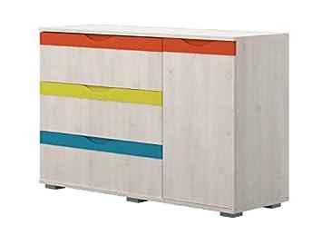 Chambre d\'enfant - Commode Peter 03, Couleur : Pin Blanc/Orange ...