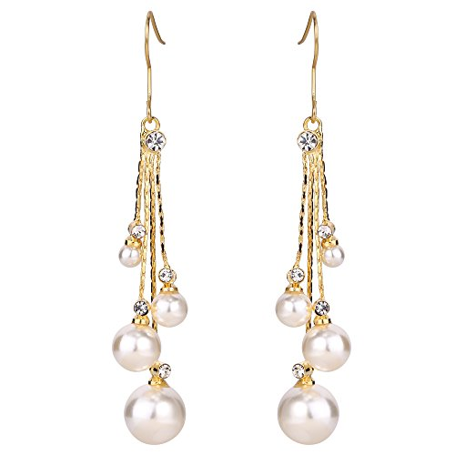 EleQueen Women's Gold-tone Crystal Simulated Pearl 4 Chain Bridal Long Dangle Hook Earrings Ivory ()