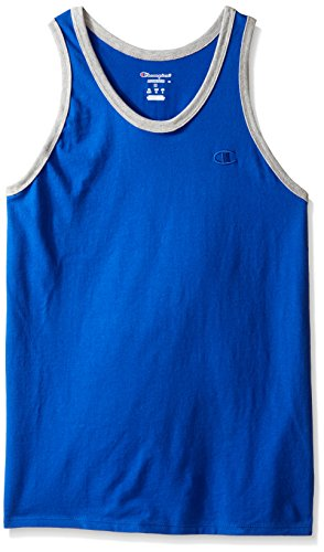 Champion Men's Classic Jersey Ringer Tank Top, Surf the Web/Oxford Gray Heather, L from Champion