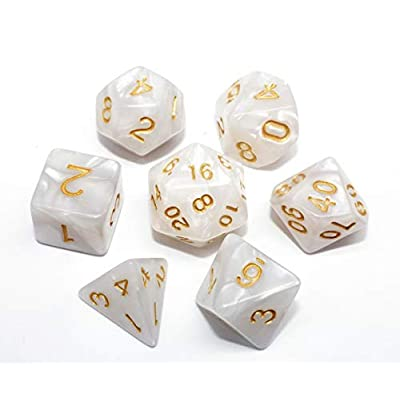 HD DND Dice Set Pearl White RPG 7-Die Dice Set Fit Dungeons and Dragons(D&D) Pathfinder MTG Role Playing Games Polyhedral Dice with Dice Pouch: Toys & Games