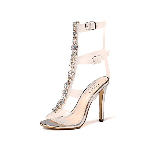 (Hell Heel Gem Clear Stiletto Heels Silver US 5/EU 36)