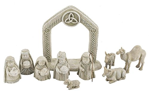 Irish Celtic Nativity Set - 10-Piece Set by Grasslands Road (Nativity Scene Ceramic)