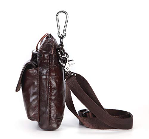 del Mochila Mensajero Hombre Cuero Cintura Bolsa Genuino Multiuso Casual Morbuy Rojo Pequeña para de Deporte Senderismo Riñonera Marrón Marrón Viaje Cuero Crossbody de 88fxw6q4z