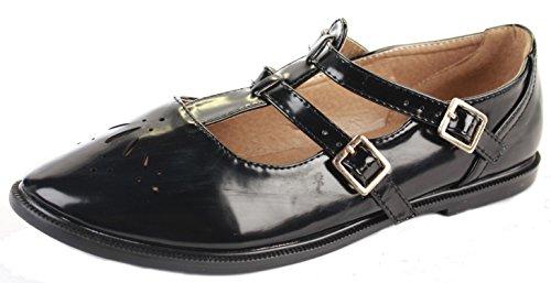 shoeFashionista - Ladies Geeks T bar Flat Pumps Casual Girls Vintage Retro Cut Out Office Pumps Shoes Size Style C - Black Matt