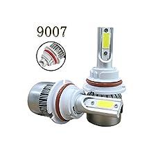 Kobwa 9007 (HB5) Automotive LED Headlight Bulbs, 110W/ 9200 Lumen/ 6000K Cool White Car COB LED Conversion Replacement Kit (Pack of 2)