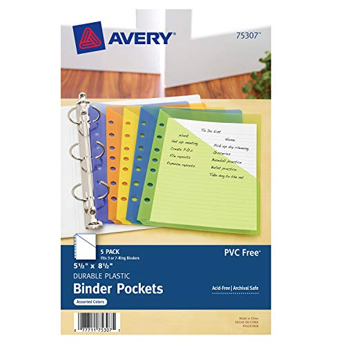 Avery Mini Binder Pockets, Assor...