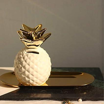 WOVELOT Tirelire DAnanas Tirelire Tirelire Bo?Te de Conservation en C/éramique D/écoration de Bocal de Rangement Tirelire Coffre-Fort Bo?Te D/économie Blanc