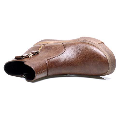 R Chiusura Per Treking PU YR Top Delle Martin Lato Stivali Boots Cuoio Scarpe Casual Donna Brown Signore Di Del Lampo Piatto Boots Cotone Retro Stivali Escursionismo Alto dgw4ga