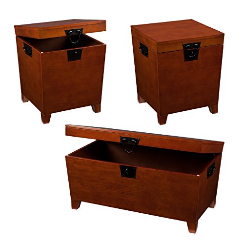 Southern Enterprises Pyramid Storage Trunk Table - Set of 3 - Mission Oak Finish w/Black Hardware