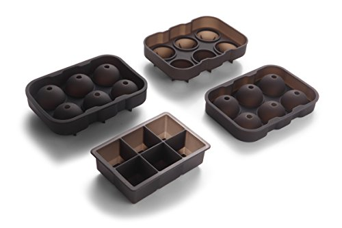 Price comparison product image Core Aim Silicone Ice Cube Trays 6-Cavity Large Square and Spheres Ice Molds FDA Approved,  set of 4