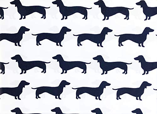 Max Studio Kids Bedding 4 Piece Kids Full Size Bed Sheet Set Dogs Dachsunds Midnight Blue Silhouettes on White