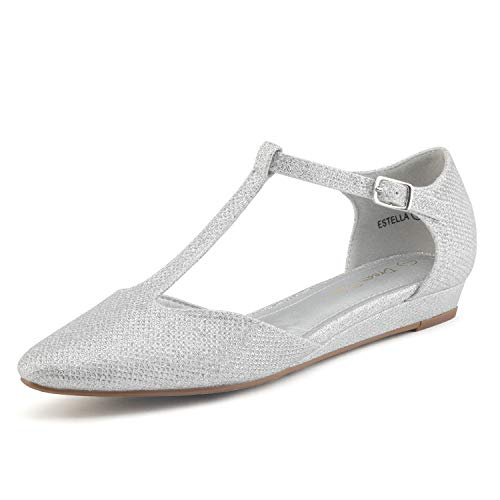 DREAM PAIRS Women's Silver Glitter Low Wedge Ballet Flats Shoes Size 6.5 M US Estella]()