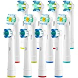 12 Replacement Toothbrush Heads Compatible With Oral B Braun Pro 3000 Pro 500, 1000, 3000, 5000, 6000, 7000, 8000-4 Floss Action, 4 Cross Action, 4 Pro White