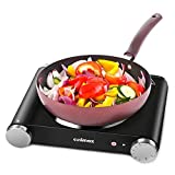 Cusimax Hot Plate Electric Burner Single Burner Cast Iron Heating Plate Portable Burner 1500W with Adjustable Temperature Control Stainless Steel Non-Slip Rubber Feet Black Easy To Clean