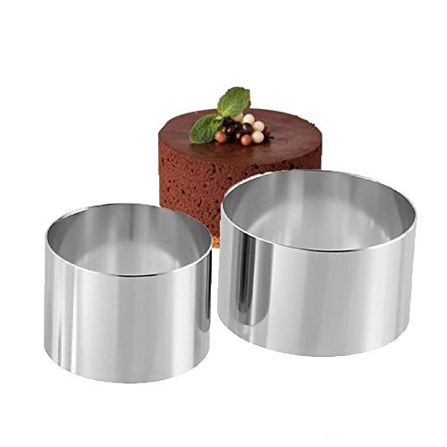 2PCS 18/8 Stainless Steel Food Tower Presentation Cooking Rings︳ Premium Food Grade Stainless Steel Dessert Rings Molding︳Layering Cake Cutter Cake Rings Mousse Rings︳Desserts Making︳3 Inch and 4 Inch