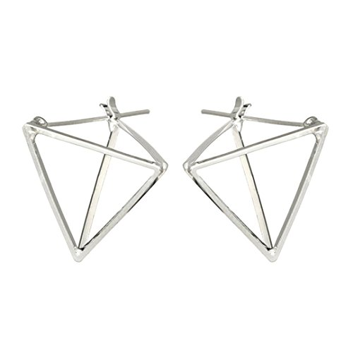 - Botrong Earring, 1 Pair Fashion Simple Square Circle Word Earring For Women (Silver)