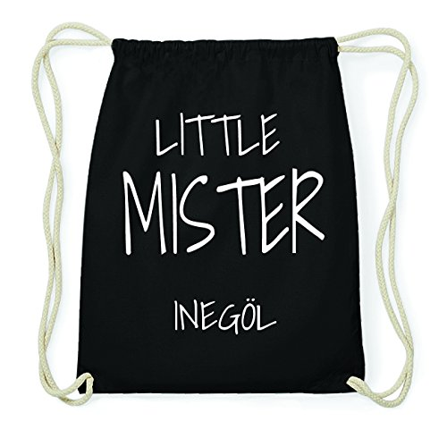 JOllify INEGÖL Hipster Turnbeutel Tasche Rucksack aus Baumwolle - Farbe: schwarz Design: Little Mister CMIGMZlLdp