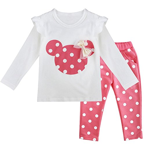 dPois Baby Girls Long Sleeves 2PCS Cotton Ouftits Cartoon Ruffle T-Shirt Tops with Polka Dots Pants Pink 3T -