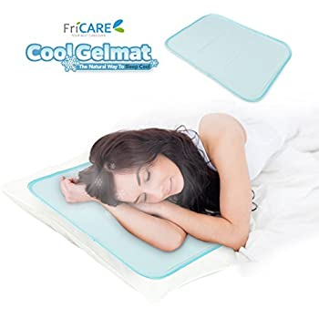 "FriCARE Patented Cool Gel Pillow Mat, Soft Gel Pad for Migraines | Hot Flashes | Neck Pain Relief, No Water Leaking, 11.8 x 17.7"", Green"