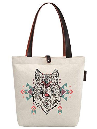 So'each Women's Animal Wolf Ethnic Style Canvas Handbag Tote Shoulder Bag