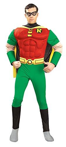 UHC Men's Deluxe Marvel Justice League Robin Of Batman Muscle Fancy Costume, Small (Batman Muscle Suit)