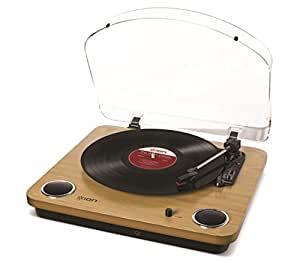 Ion Audio Max LP Belt Drive Wooden Turntable with Built-In Speakers, 3 Speed, Natural Wood