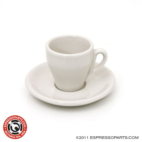 Cup & Saucer White 2.5 Oz. Demitasse Tulip Shape - Set of 6 Shape Demitasse Saucer