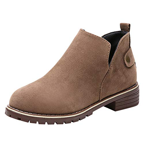 Price comparison product image for Shoes,AIMTOPPY Vintage Women Round Toe Shoes Flat Booties Hasp Suede Solid Color Warm Boots