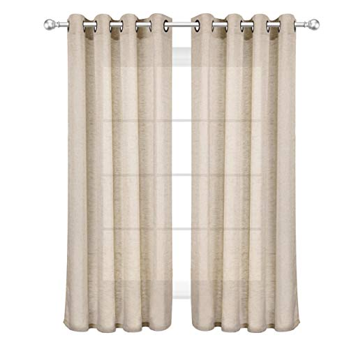 VOILYBIRD Reale Sheer Curtains for Bedroom Rustic Curtains Panels for Living Room 84 Inches Long Metal Grommet (Natural Linen, W52 x L84, Set of 2)