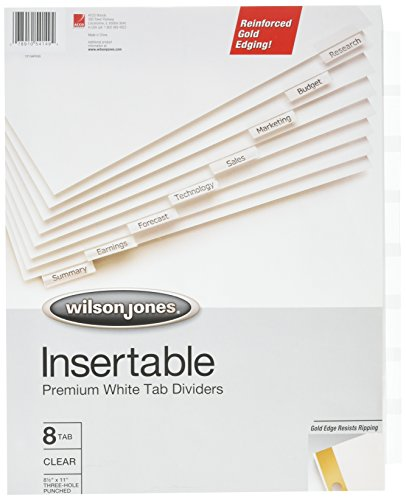 Wilson Jones Insertable Dividers - Gold Line, 8-Tab Set, Clear Tabs on White Paper (W54149A) (Insertable Line Indexes)