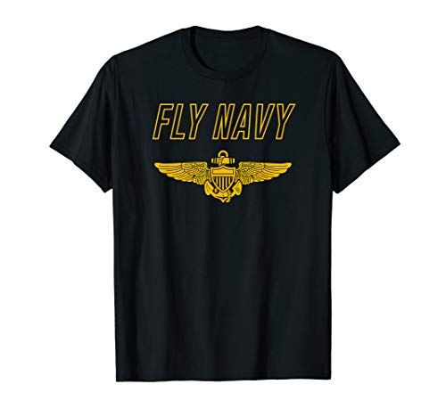 Fly Navy Shirt Classic Naval Officer Pilot Wings Tee (Naval Aviator Wings)