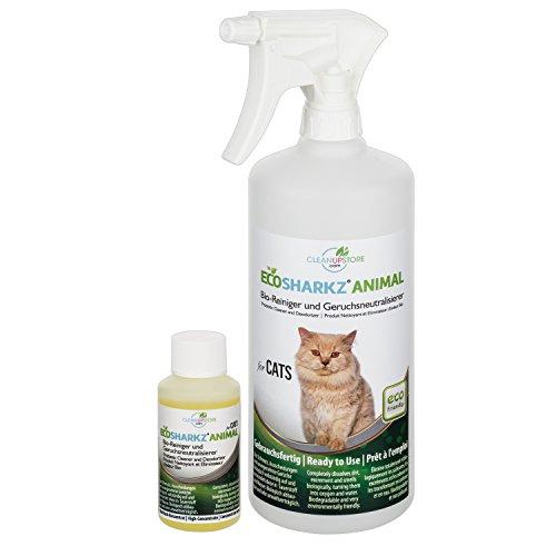 Geruchsneutralisierer Spray für Katzen – natürlicher Katzenurin Entferner – gegen Katzenklo Geruch (50ml Konzentrat…