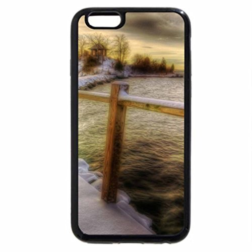 iPhone 6S / iPhone 6 Case (Black) bridge on a wharf to an island on a lake in winter hdr