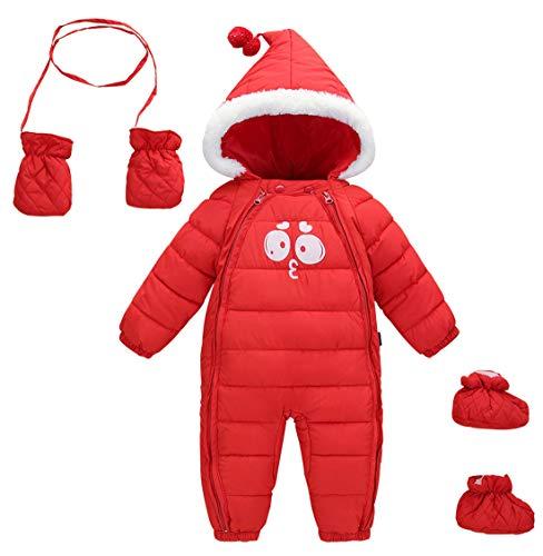 AUBIG Baby winter overall met capuchon baby jongens meisjes sneeuwpak met schoenen en handschoenen 0-24 maanden