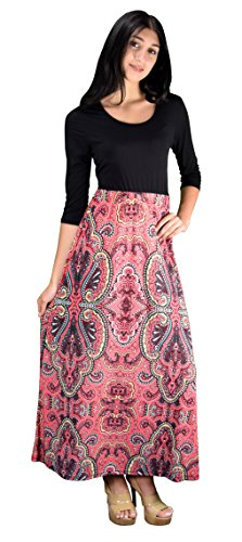 Peach Couture ¾ Sleeve Black Paisley Two Toned Self Tie Waist Belt Maxi Dress (Small, Pink)