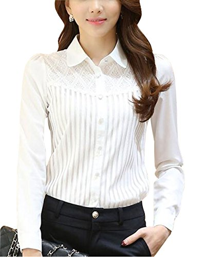 Womens Vintage Collared Button Down Shirt Long Sleeve Lace Stretchy Blouse White 20