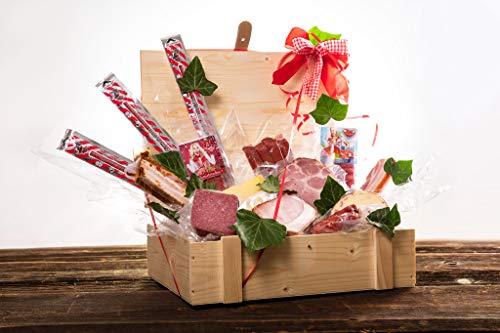 WURSTBARON® Wurst & Käse Geschenk Kiste aus Holz mit Beschlägen, Salami Snacks, Tolle Geschenkidee für jeden Anlass