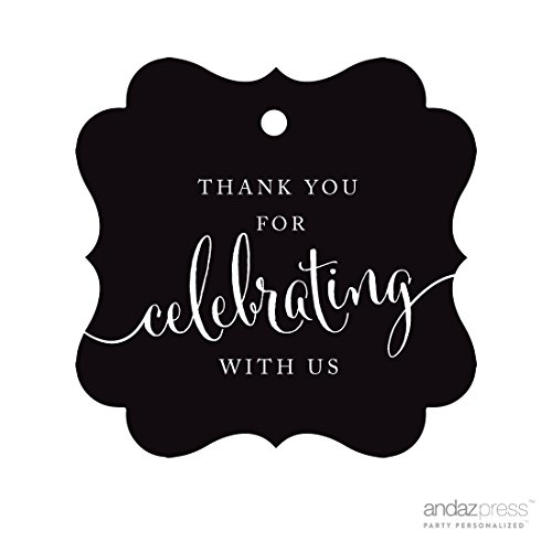 ame Gift Tags, Thank You For Celebrating With Us, Black, 24-Pack, For Baby Bridal Wedding Shower, Kids 1st Sweet 16 Quinceanera Birthdays, Anniversary, Graduation, Baptism, Christening, Confirmation, Communion Party Favors, Gifts, Boxes, Bags, Treats and Presents ()