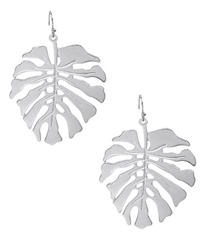 NVENF Filigree Leaf Earrings Hollow Brass Gold Earrings For Women Leaves Drops Dangle Earrings (Silver) ()
