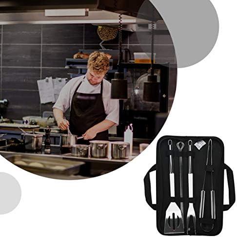 Longspeed Accueil Barbecue Grill Tool Set Accessoires en Acier Inoxydable Barbecue Grill Kit d'ustensiles dans Un étui Portable - Argent