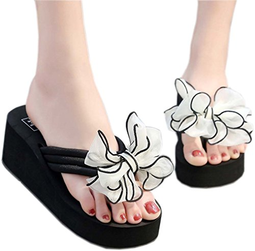 209a09e1358 bettyhome Women Sexy Club Party High Heels 2.76 inch Bow Comfortable Thongs  Casual Wedges Sandals Beach